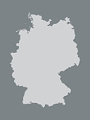 A black and white Germany map with single filled border and shading on dark background vector illustration