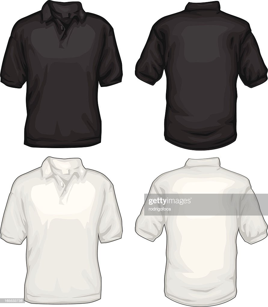 Black t shirt vector front and back - Black And White Golf Tee Shirts Front Back Vector Art