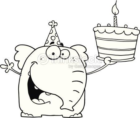 noir et blanc heureux éléphant tenant le gâteau clipart vectoriel