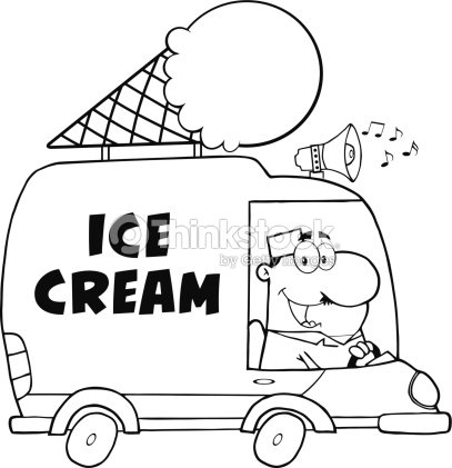Black And White Happy Ice Cream Man Driving Truck stock