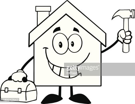 Black And White House Worker With Tool Box Vector Art