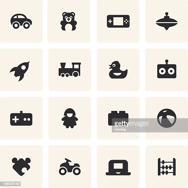 Black and white icons of common toys