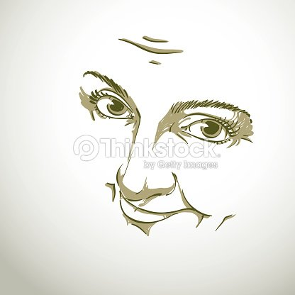 black and white illustration of lady face delicate visage vector art