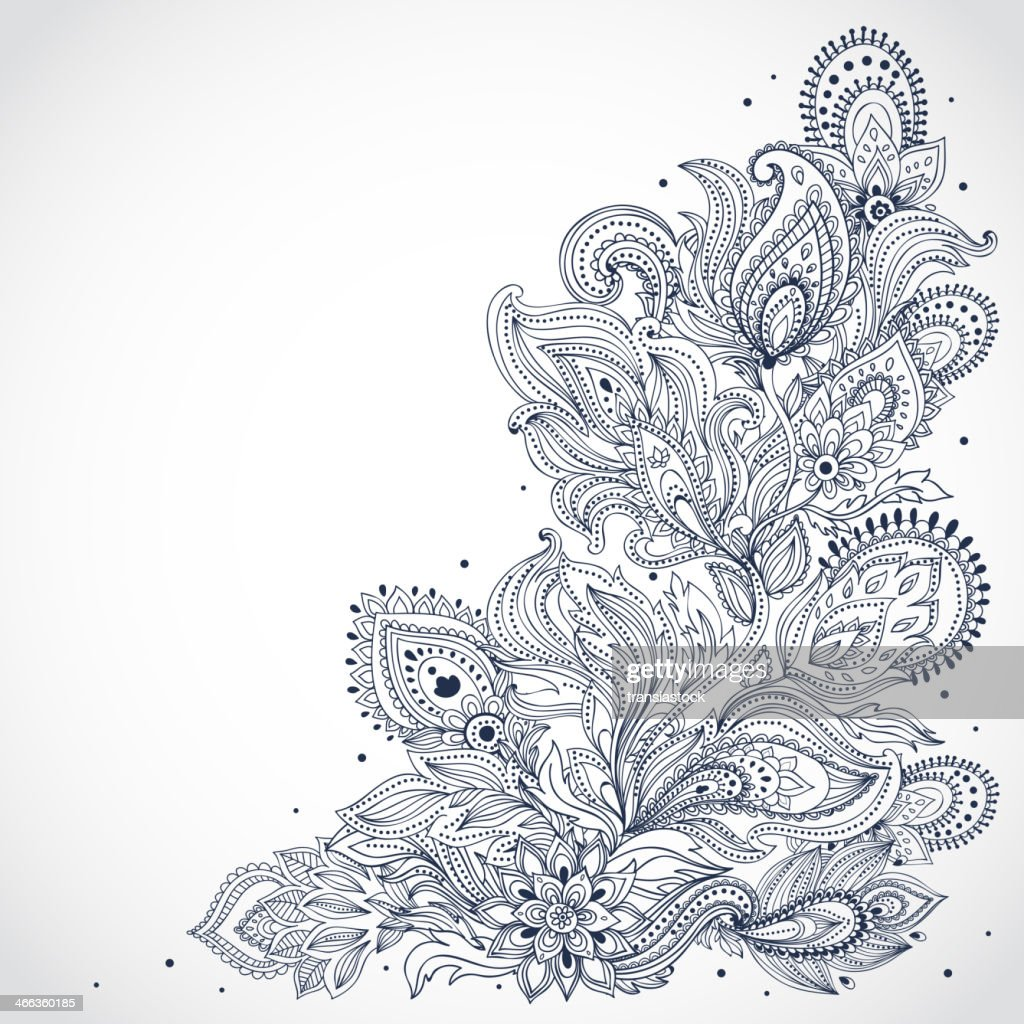 Black And White Indian Floral Pattern On A White Background : Vector Art