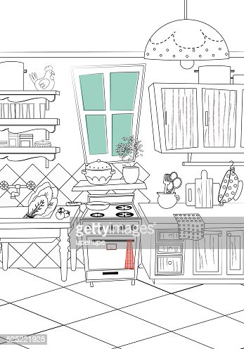 black and white kitchen cartoon style background vector