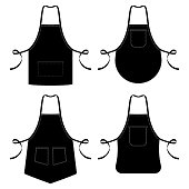 Black and white kitchen chef aprons isolated on white. Apron kitchen for cooking. Vector illustration