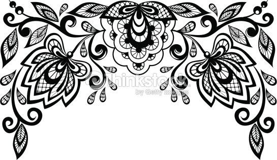 noir et blanc dentelle de fleurs isol clipart vectoriel thinkstock. Black Bedroom Furniture Sets. Home Design Ideas