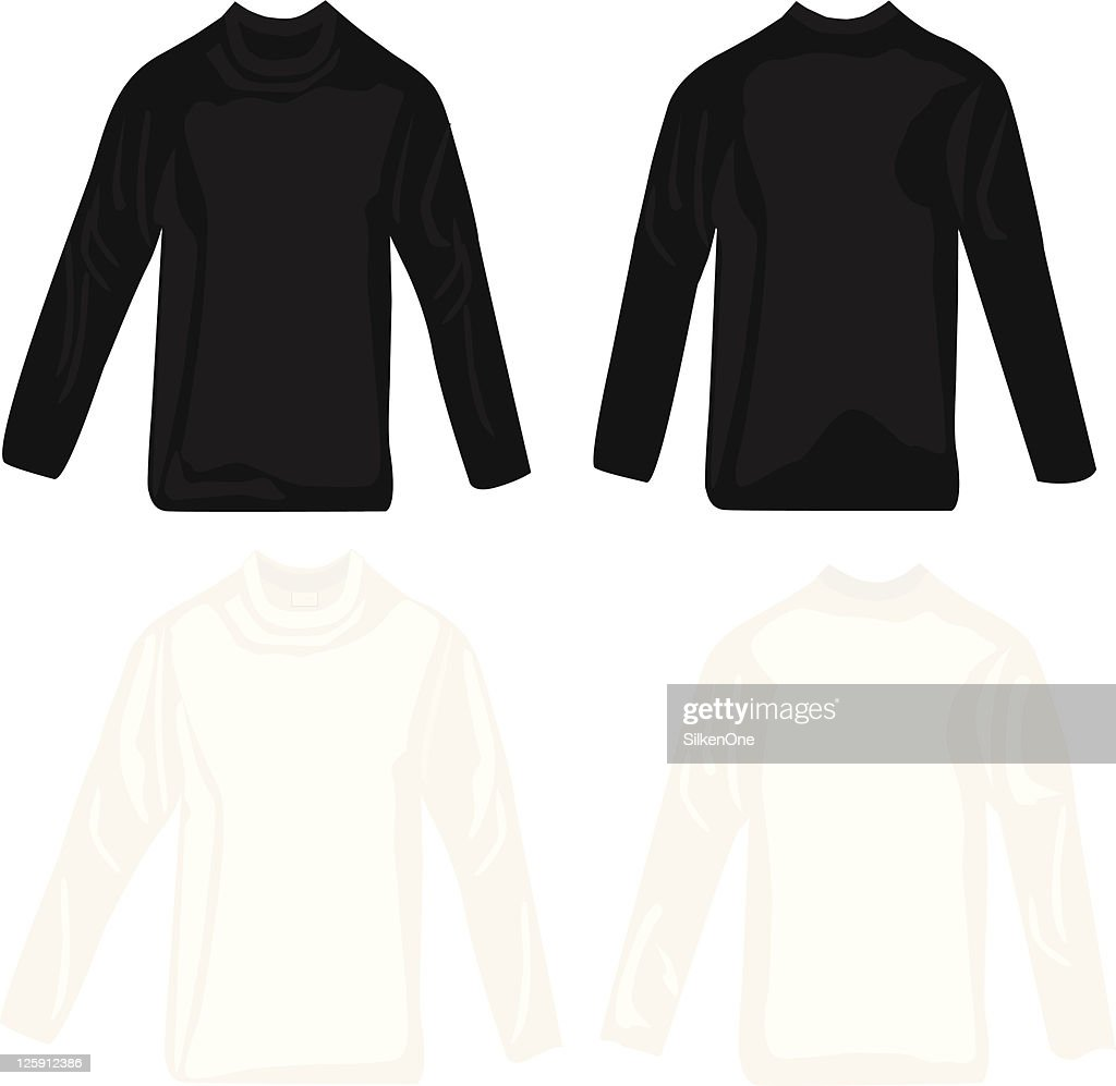 Black t shirt vector front and back - Black And White Long Sleeve Tee Shirts