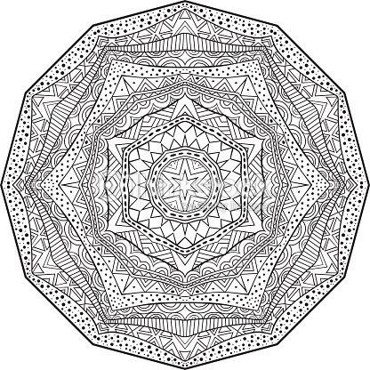 Mandala Blanco Y Negro Con Adorno Africano Arte vectorial | Thinkstock
