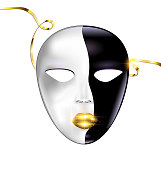 white background and carnival black golden mask
