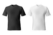 Black and White mens t-shirt template realistic mockup. Vector illustration.