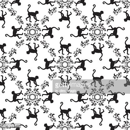 Black And White Monkey Texture With Floral Ornament Vector