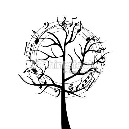 Arbre De Musique Noir Et Blanc Avec Des Notes De Musique Clipart