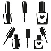 Black and white nail polish silhouette set. Hand hygiene solution. Beauty manicure themed vector illustration for icon, stamp, label, sticker, badge, gift card, certificate or flayer decoration