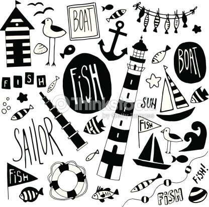 Black and white nautical themed icons vector art
