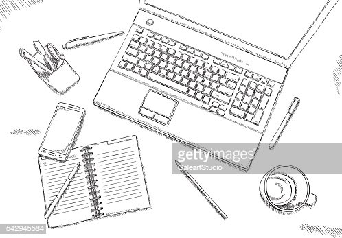 Black And White fice Desk Drawing Vector Art