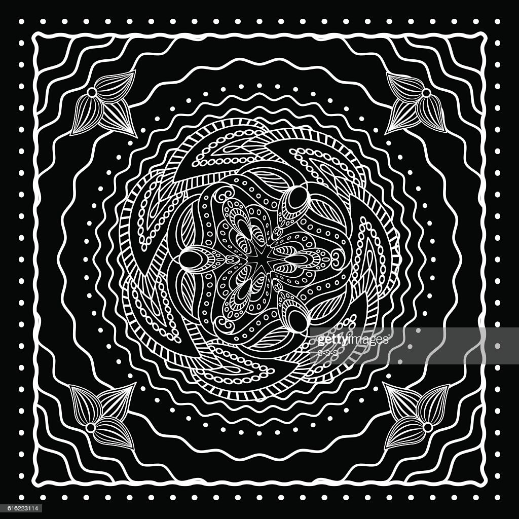Black and white oriental bandana design : Vector Art