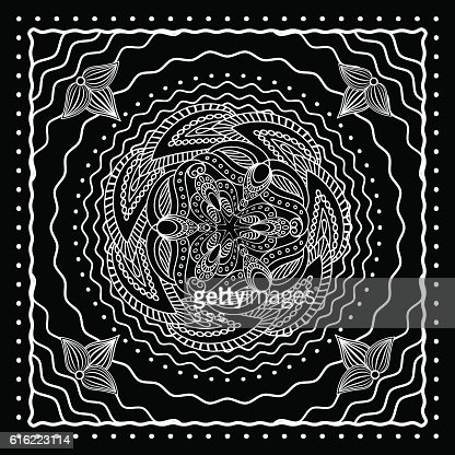 Black and white oriental bandana design : ベクトルアート