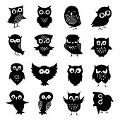Black and white owl silhouettes set. Owl bird animal, black white owlet illustration