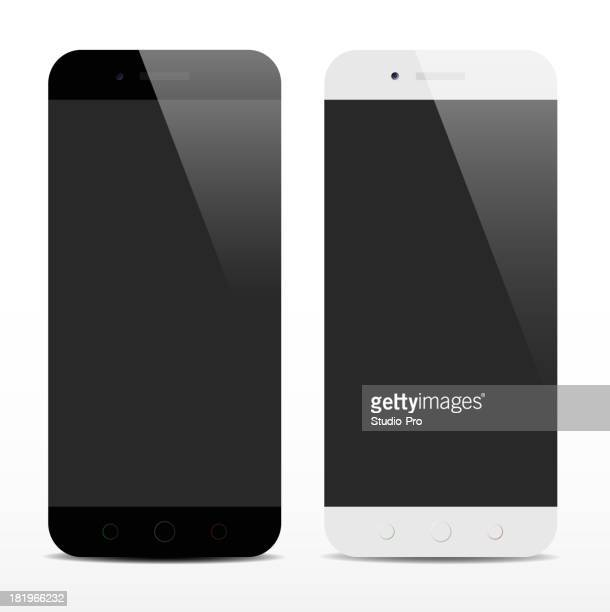 A black and white pair of smart phones