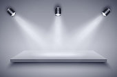 Light box with Black and white platform on with three spotlights. Editable Background Vector illustration.