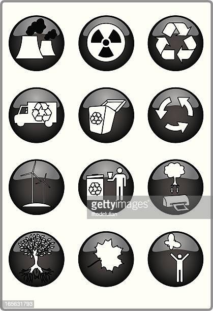 Black and white recycle icons
