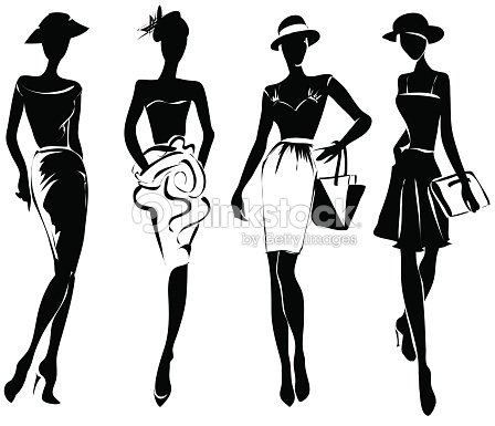 Black And White Retro Fashion Models In Sketch Style ...