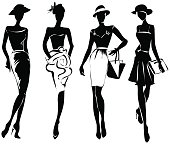 Black and white retro fashion models in sketch style. Hand drawn vector illustration