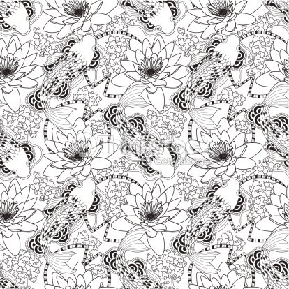 Black And White Seamless Koi And Lotus Pattern Vector Art