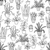 black and white seamless pattern with hand drawn indoor flowers