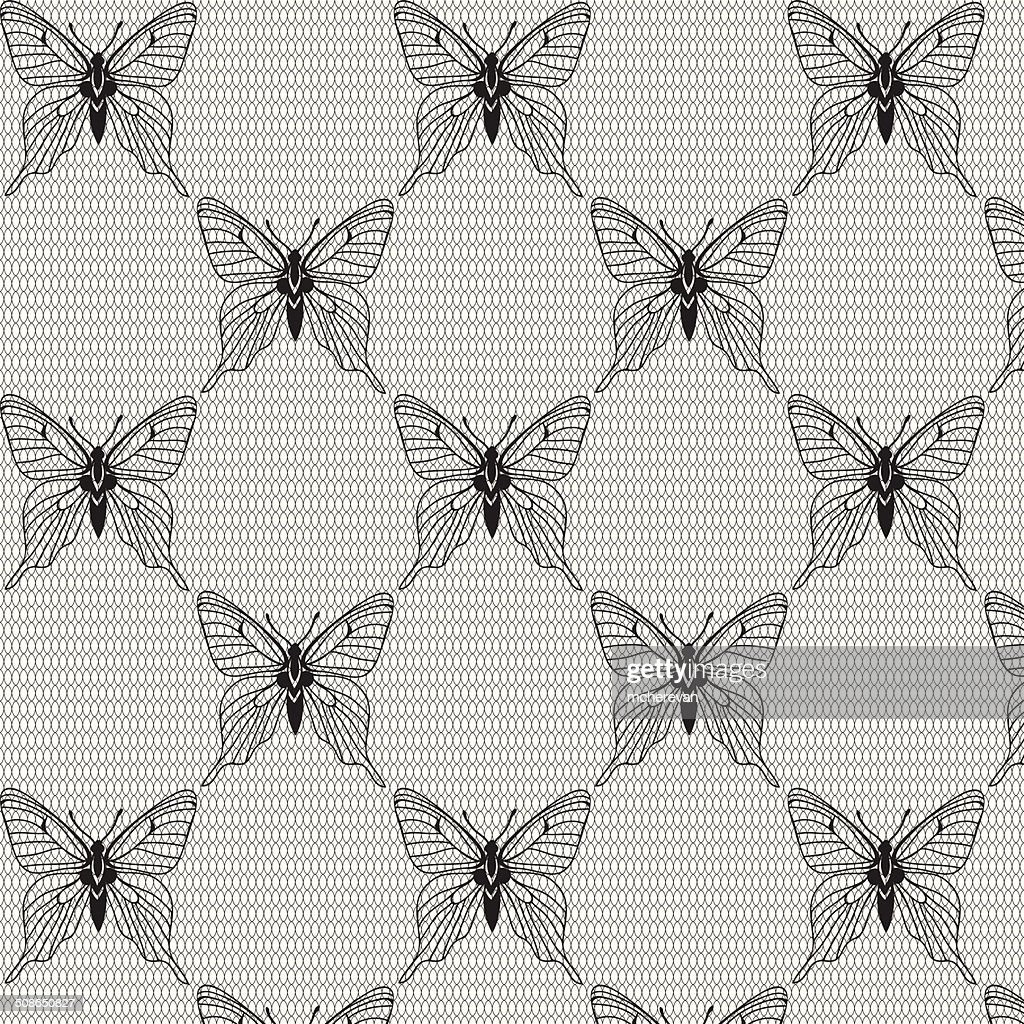 Black and white seamless  with butterflies on the voile : Vector Art