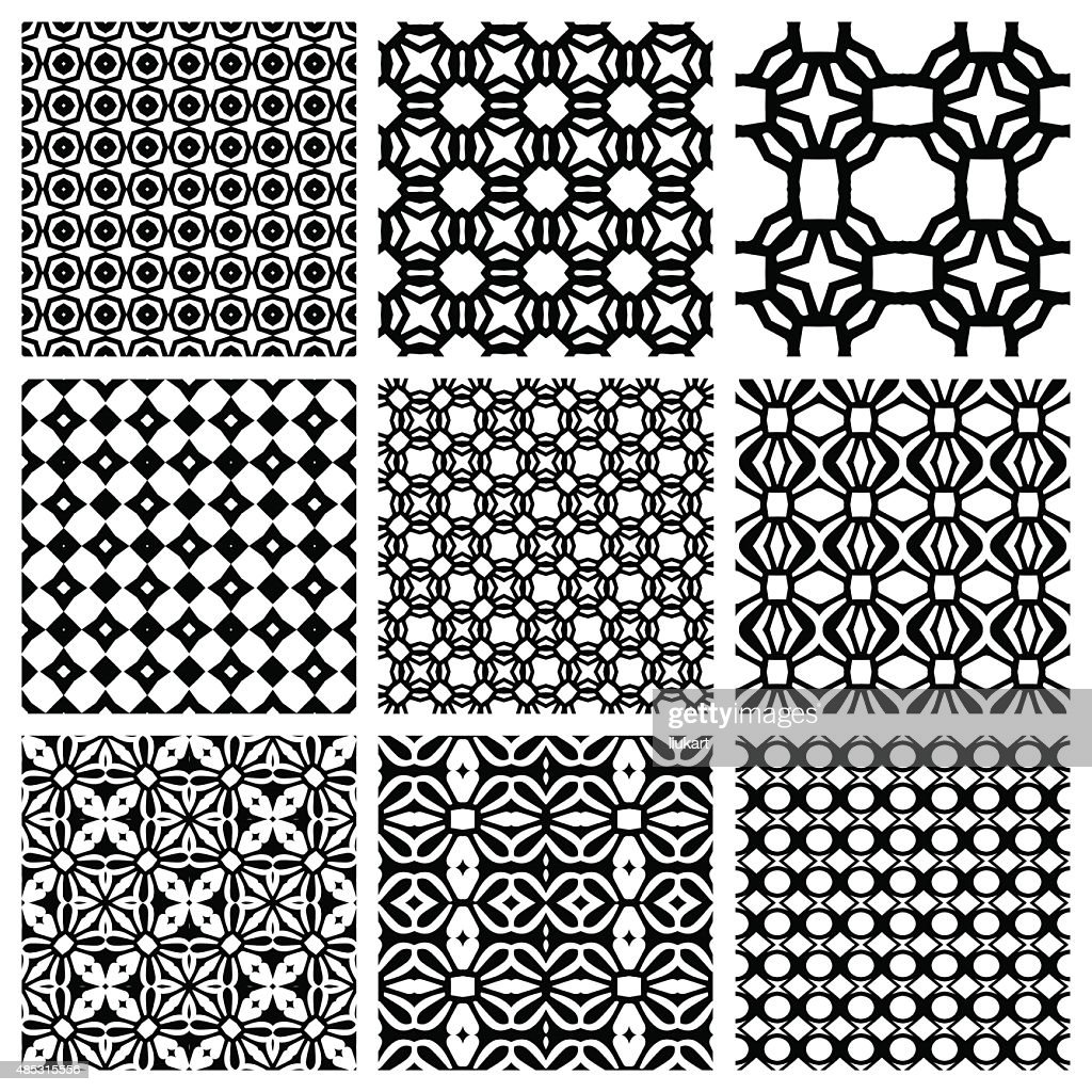 Black And White Set Of Seamless Geometric Patterns, Simple Design : Vector  Art