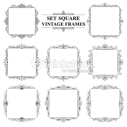 Black And White Set Of Vintage Elegant Square Frames With Floral ...