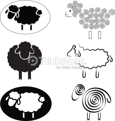 Black And White Sheep Clip Art stock vector - Thinkstock