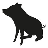 Black and white sitting pig silhouette. 2019 year chinese symbol. Farm animal vector illustration for icon, sticker sign, patch, certificate badge, gift card, stamp symbol, label, poster, web banner