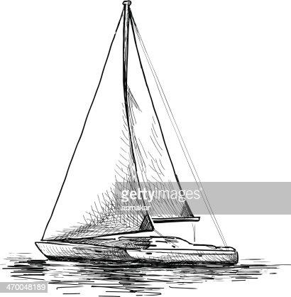 Vintage Sailboat Sketch Black And White...
