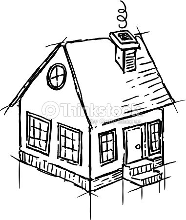 Black And White Sketch Of Small House Vector Art