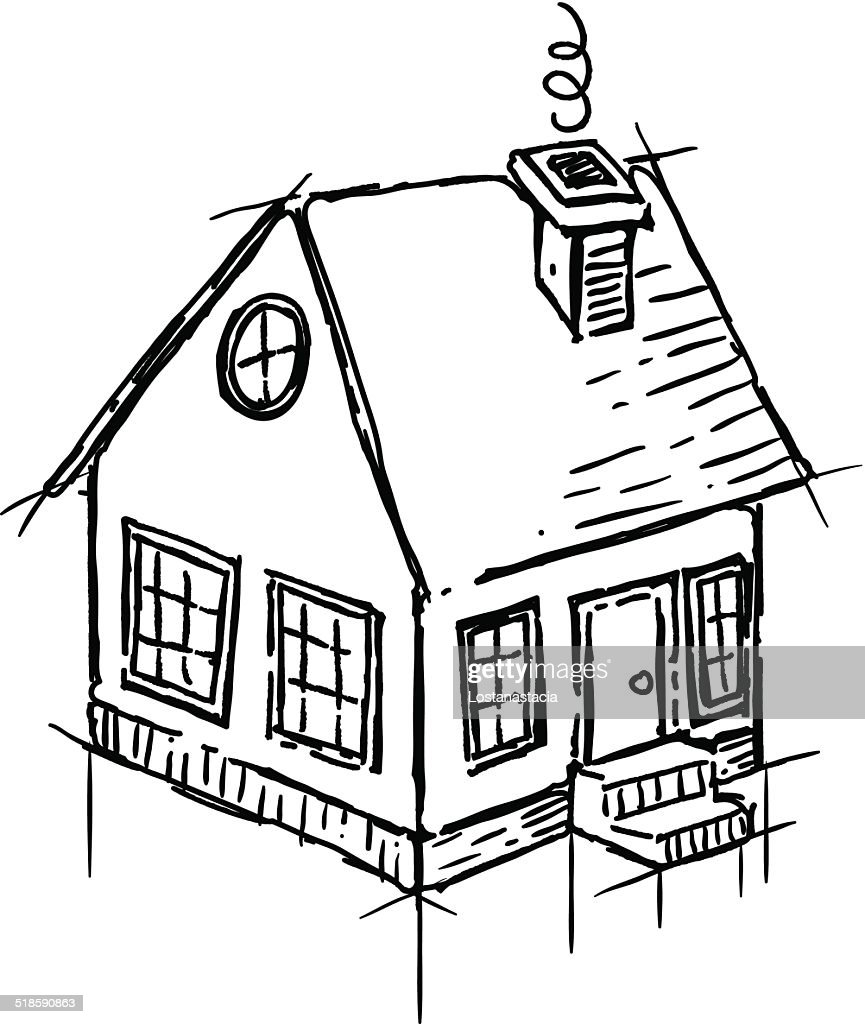 Captivating Black And White Sketch Of Small House : Vector Art