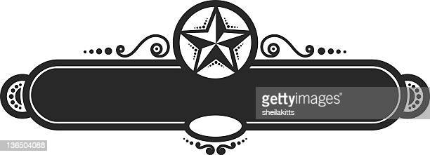 Black and white star banner icon