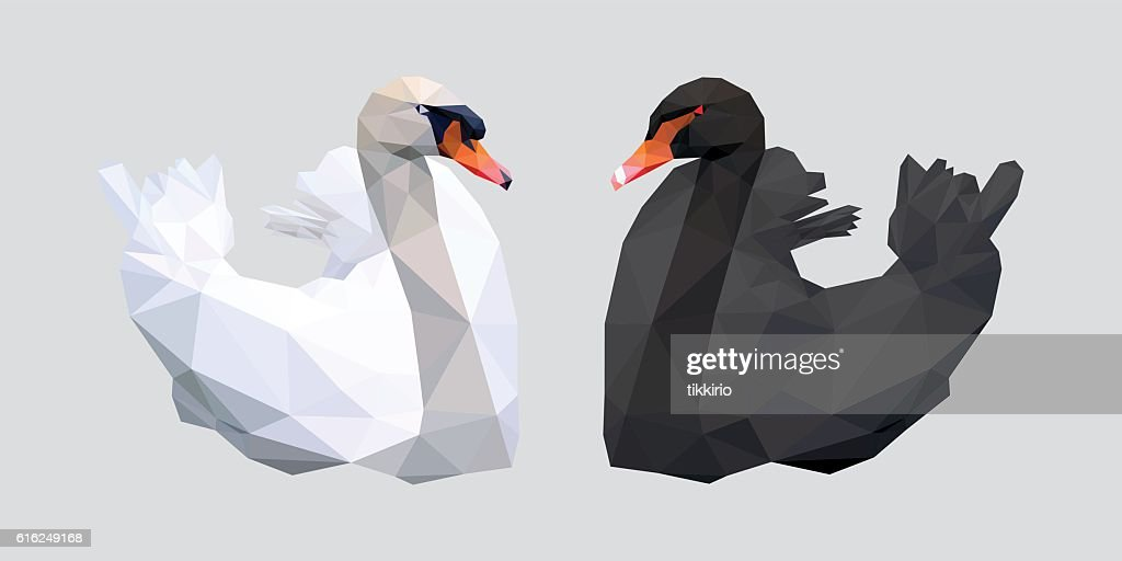 Black and white swan low polygon isolated : Arte vetorial