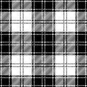 Black and white seamless traditional tartan plaid pattern design.