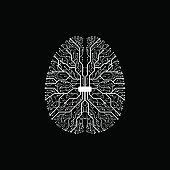 Black and white technology background with a brain formed by semiconductor tracks.
