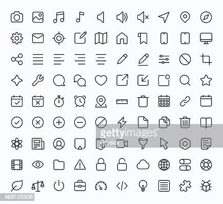 Contorno vetor ícones para web e dispositivos móveis : Arte vetorial