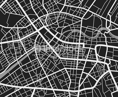 Black And White Reisen Stadtplan Städtischer Verkehr Straßen ...