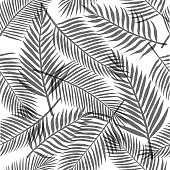 Black and white tropical leaves background. Vector seamless pattern.