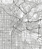 Black and white vector city map of Los Angeles with well organized separated layers.