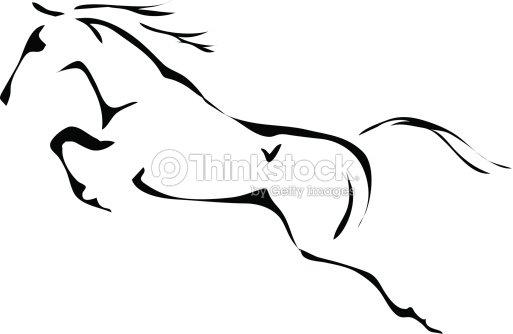 Bianco e nero di vettore sagome di saltare cavallo arte for Immagini cavalli da disegnare