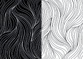 Black and white wave patterns. Textured abstract backgrounds. Vector illustration.