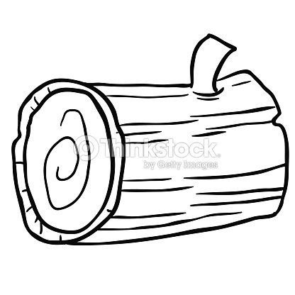 coloring pages of a log | Black And White Wood Log Cartoon stock vector - Thinkstock