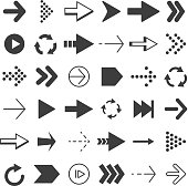 Black arrows set. Vector pictures isolate. Pointer cursor arrow, direction, next and right set arrows illustration